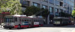 Articulated trolleybus on Steuart Street.