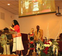 Sunday morning service as our president address the congregation