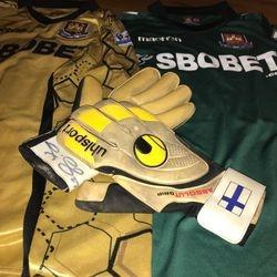 Jussi Jaaskelainen worn signed goalkeeper gloves