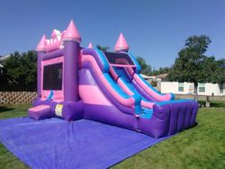 Princess Crown Mega Combo Jumper with Double Slide, Climbing Wall and Basketball Hoop