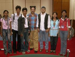 shail hada and mahendra modi with a group of youth