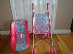 Fisher Price Little Mommy Doll Carrier and Stroller - $15
