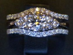 Engagement ring and double wed ring set