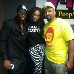 Jevon Sims, Demetria McKinney & Thomas Crawley  (Mr. Luscious) At V103's Radio Station on September 22, 2013