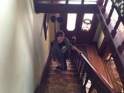 Amy on the main staircase