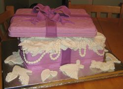 Box Present with Lace and Beads