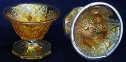 Leaf and Little Flowers compote, marigold radium