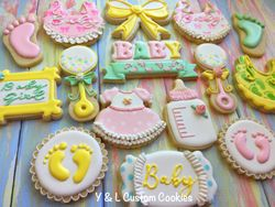 Girl Baby Shower Custom Cookies