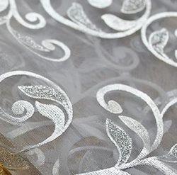 Silver Metallic Floral Organza Sheer Table Runner