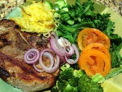 Pork Chops, Spaghetti Squash, Kale, Heirloom Tomatoes, Broccoli & Red Onion