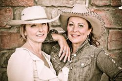 My pal Diane Tribitt and me all dolled at a shoot.