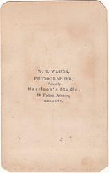 W. R. Wasson, photographer of Brooklyn, New York - back