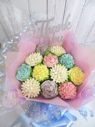 Pastel colour cupcake bouquet