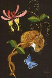 Harvest mouse, honeysuckle ...
