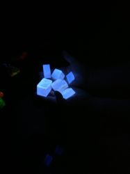 With no light at all, the crystals revealed another property - several seconds of phosphorescence, generating their own light!