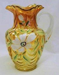 (Enameled)  Magnolia and Drape wavy top pitcher, marigold