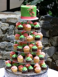 Green and pink wedding cupcake tower 4