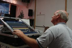 Wayne Burnam, sound man for New Creation