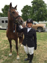 JoAnn Hassold with her mare, Ensign Stately Mandolyn, at ESDCTA championships
