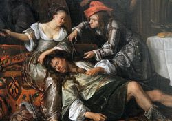 Jan Steen, Samson and Delilah, detail, LACMA