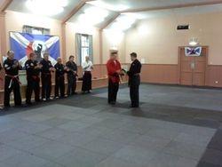 Presentation to Steve Cargill of Shodan Ho by Scottish Fighting Arts Society Panel