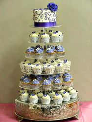 Purple and white Wedding Cupcake Tower 1