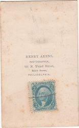 Henry Arens, photographer of Philadelphia, PA - back