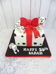 Dalmation Present Birthday Cake