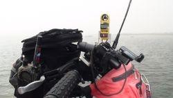 Geared up on causeway w/portable Kestrel Meter
