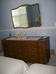 BEDROOM SET LONG DRESSER WITH MIRROR, ANTIQUE DRESDEN LACE BALLERINA FIGURINES
