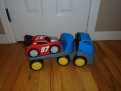 Little Tikes Rugged Riggz Race Car Carrier with Busch Red 97 Race Car - $20