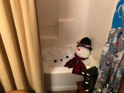 Snowman in the bathtub in Saunders Home
