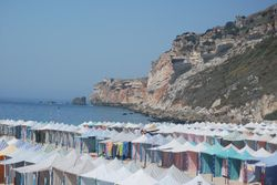 Tents for hire on the beach at Nazare