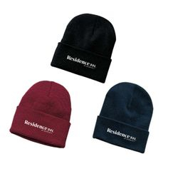 Ski Hats, Knitted.  Black, Maroon or Navy Blue - 1 Size Fits All - 100% Acrylic