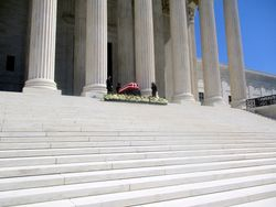 Casket Guarded by Clerks at West Façade of US Supreme Court Building from Northwest During Lying in Repose of Associate Supreme Court Justice Ruth Bader Ginsburg
