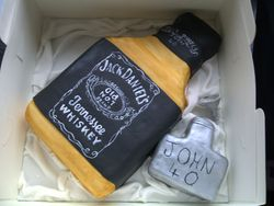 Whiskey Bottle and Hip Flask Cake