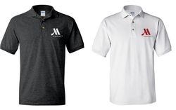 Polo Shirts, Dark Heather & White. - Silk-Screened Logo - DryBlend Fabric 50/50 - 3-Button Placket - Knitted Collar & Cuffs