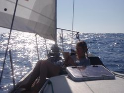 Relaxing on deck on the way to Porto Santo