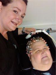 Jessie rinsing clients perm