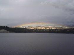 Rainbow over River