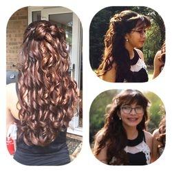 Long Flowing curls half up down