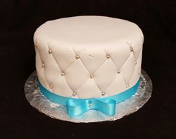 White Quilted with Blue bow