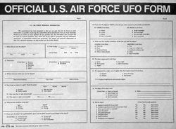 USAF UFO reporting form -early 1960's