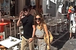 John Travolta and his wife Kelly Preston, Mykonos