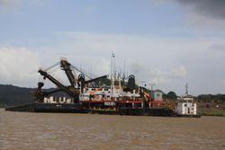 Dredger on Panama Canal