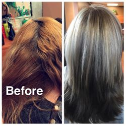 Before & after, cut, color & highlights