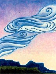 Raven Totem Flying, Oil Pastel, 11x14