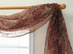 Floral Flocking Sheer 6-yard Scarf Valance (Item # SF421-68-43)