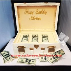 Briefcase with Money Stacks Cake