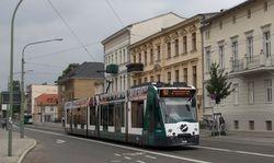 Siemens Combino no. 408 heading South, on Friedrich-Ebert-Straße
